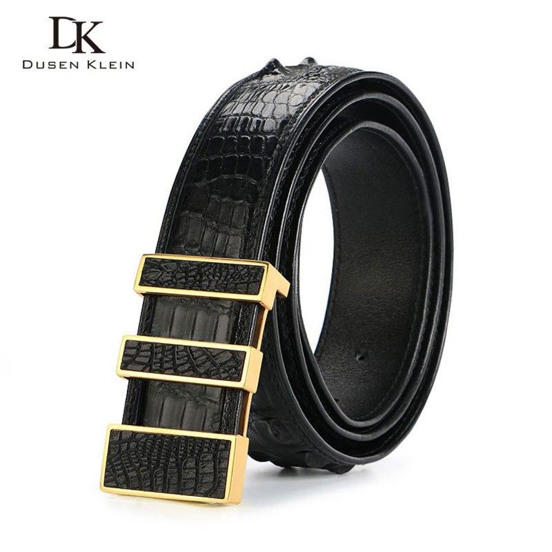 Cinturón de piel de cocodrilo de lujo de Tailandia para hombre, hebilla de acero inoxidable dumen Klein para hombre, cinturón de alta calidad de cocodrilo natural, DK E368