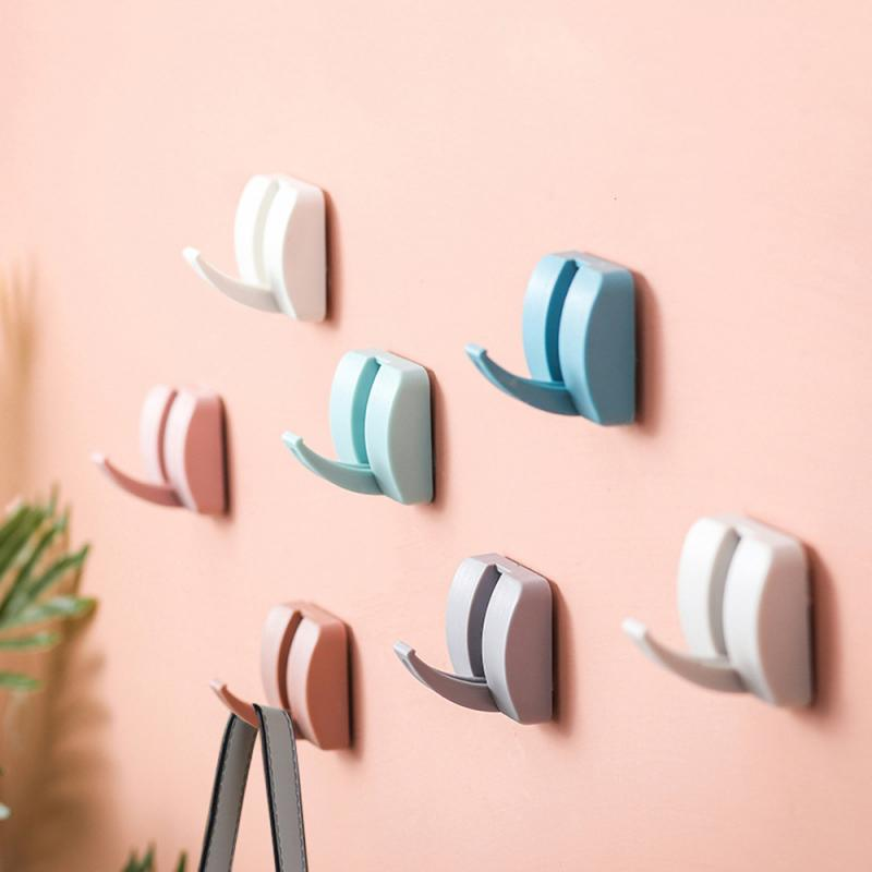 1pc Self Adhesive Wall Hooks Organizer Removable Bathroom Kitchen Wall Strong Suction Cup Hooks Hangers Key Holder Towel Racks