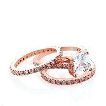 14K Rose Gold Princess Diamond Ring for Women Bizuteria Three Sets of Bague Anillos De White Topaz Gemstone Rings