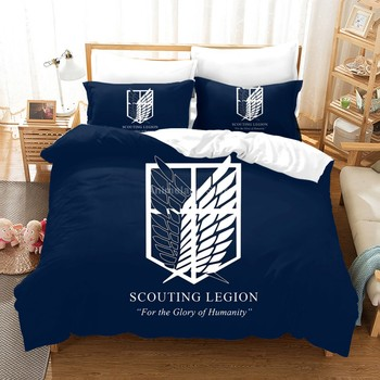Anime Attack On Titan 3D Print Comforter Bedding Set Kids Adult Duvet Cover Set Bed Home Gift Bed Linen Queen King Double Size