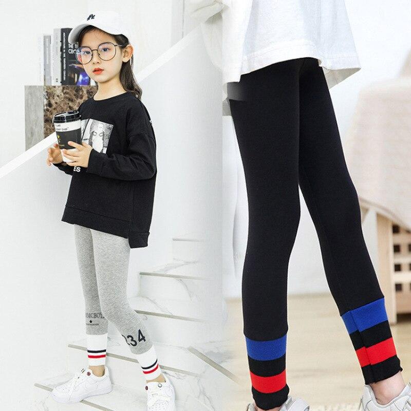 Girls Leggings For Kids Autumn Spring Stretch Children Leggings Rainbow Girl Skinny Pants Plush Lining Girls Slim Leggings