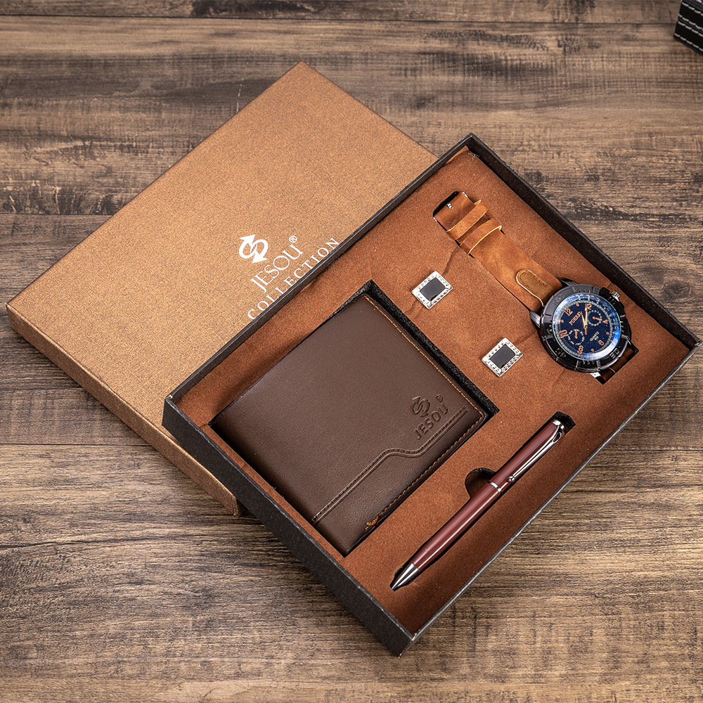 Set -3pes/set Men's Gift Set Beautifully Packed Watch +Wallet+Pen Men Fashion Watch Quartz Simple Creative Combination Set