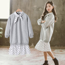 Платье свитшот для девочек 10 12 лет 2020 хлопок в белый горошек