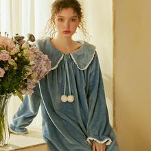 Winter  Sleepwear Nightgown Woman Flannel Long Sleeve Sweet Women Princess Nightwear Dress Soft and comfortable