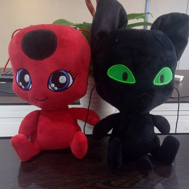 15-20cm Ladybug Plush Keychain Toys Plagg And Tikki Cat Noir Lady Bug Adrien Marinette Soft Stuffed Pendant Dolls Toy