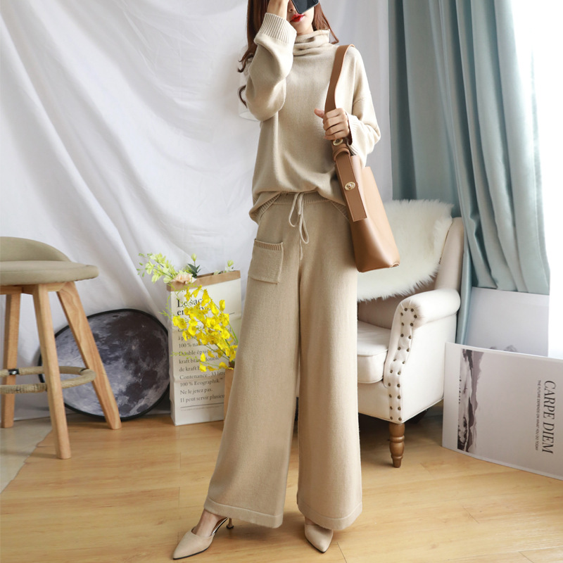 Sweater WOMEN'S Suit 2019 New Style Laziness-Style Loose Casual Waist Hugging Elegant Wool Knit Loose Pants Two-Piece Set