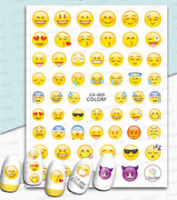 Newest CA-1-2-3 Smiley face Stay cute 3d nail art sticker decal stamping export japan designs rhinestones  decorations