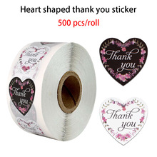 500pcs heart-shaped thank you stickers seal labels 1inch flowers for wedding sticker small store decoration stationery sticker