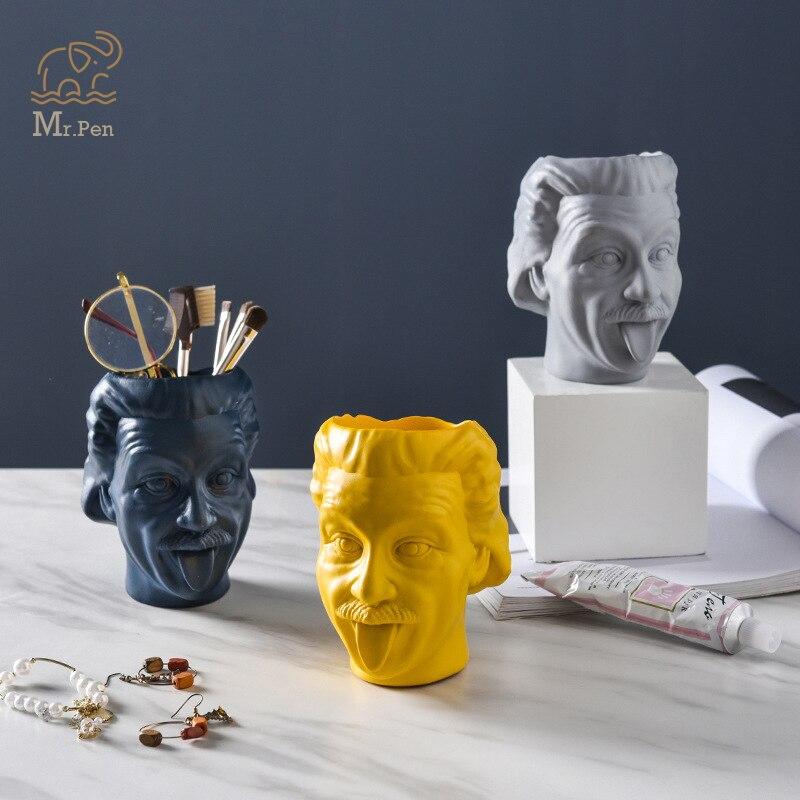 Creative Einstein Design Flower Pot Office Desktop Pen Holder Make Up Brush Organizer Crafts Gifts Decoration Desk Organizer