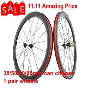 Image 1 - 700C Углеродные колеса 38 мм 50 мм 60 мм 88 мм дорожные велосипедные колеса клинчеры или трубчатые Углеродные колеса
