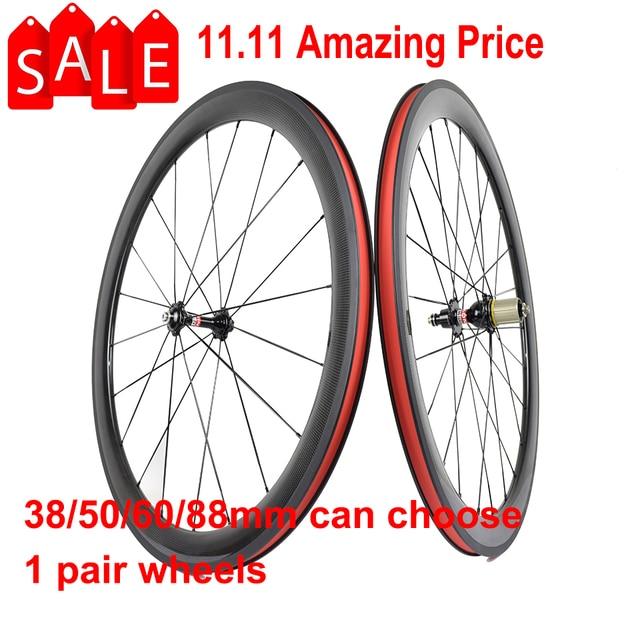 700C karbon tekerlekler 38mm 50mm 60mm 88mm yol bisikleti tekerlek perçini veya boru şeklindeki karbon tekerlekler et