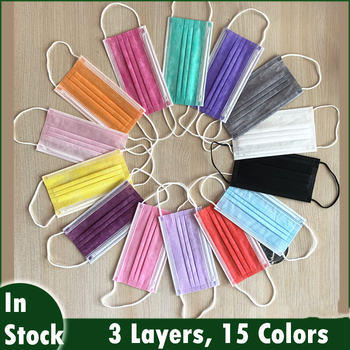 100 Pcs Neon Green Violet Purple Yellow Orange Red Disposable Masks 3 Layers Face Mask Melt-blown Mouth Cover Mask