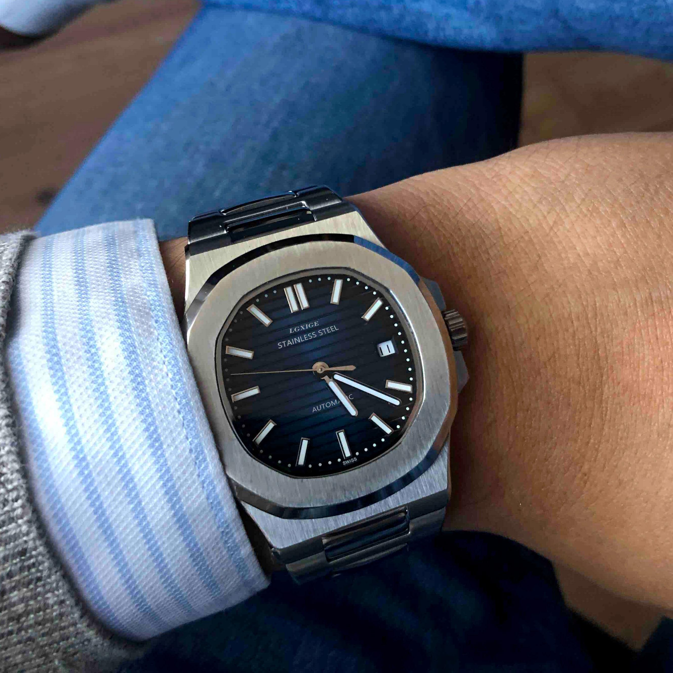 LGXIG Brand Men Watches Automatic Mechanical Watch JAPAN 8215 Sport Clock Casual Business Retro Wristwatch Relojes Hombre 2019 Pakistan