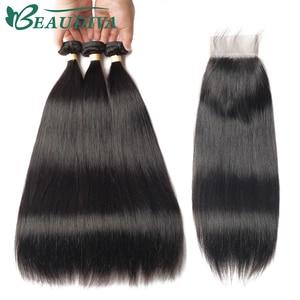 Image 2 - BEAUDIVA человеческие волосы пряди с закрытием прямые бразильские волосы 3 4 пряди с закрытием Remy волосы переплетения