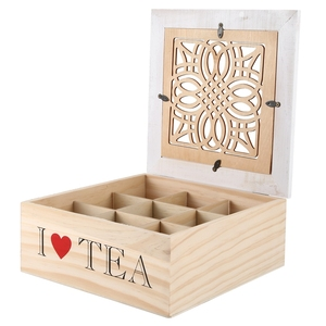 Wooden Storage Box 9 Grid Tea