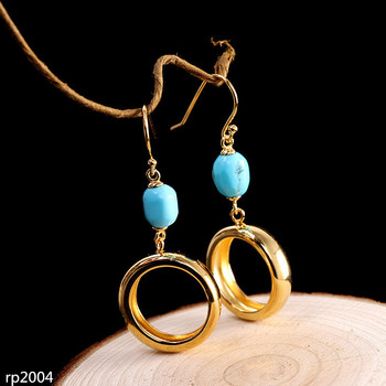 KJJEAXCMY boutique jewelry Gold Plated S925 Sterling Silver Women's Turquoise Gemstone Earrings New