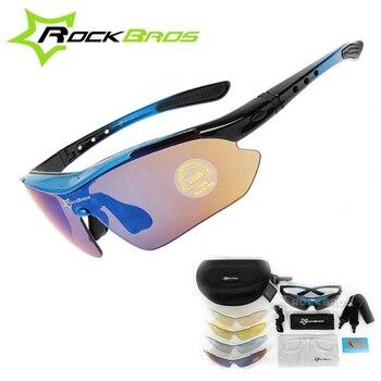 RockBros Polarized 5 Lens Outdoor Sports Hiking Climb Bicycle Cycling Sun Glasses Bike Sunglasses TR90 Eyewear Goggles