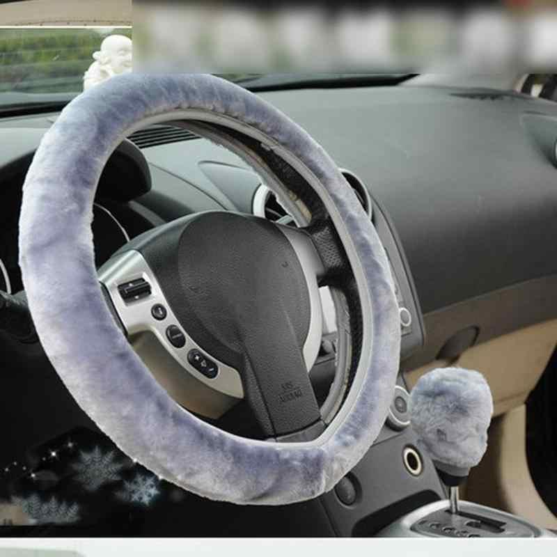 الملمس لينة السيارات سيارة غطاء عجلة القيادة الدافئة Pluch جديلة على Steeringwheel الداخلية اكسسوارات