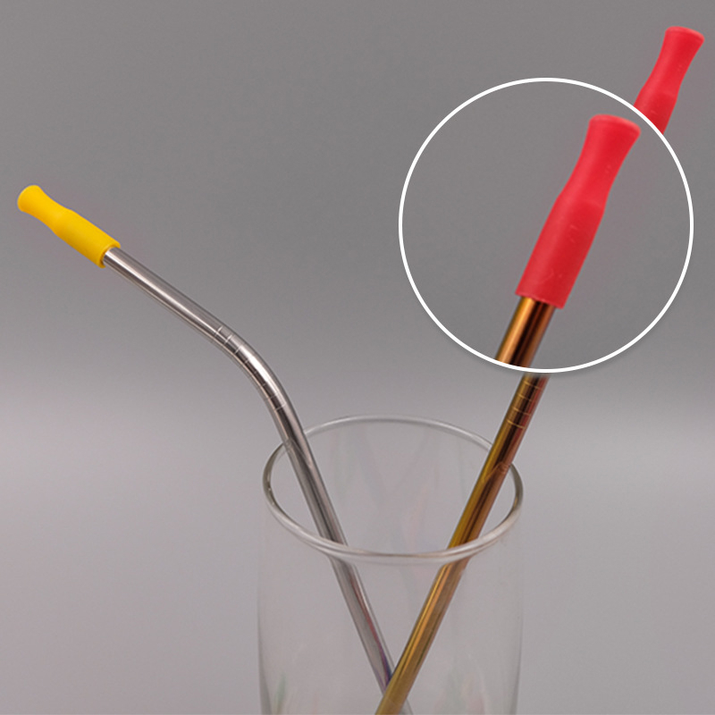 Tip stainless steel Straw sleeve straws cap drinking straw silicone cover