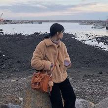 2019 South Korea New Fall Coat women Age-reduced Sheep Sheared Turn-down Collar Single Breasted Full coats