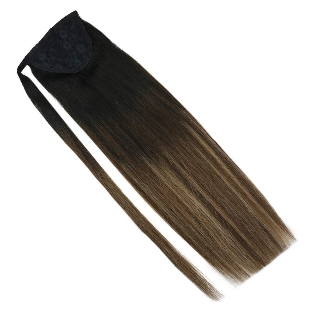 VeSunny Ponytail Extensions Wrap Around Magic Tape 100% Human Hair Balayage Natural Black To Brown Mix Ash Blonde #1B/4/27