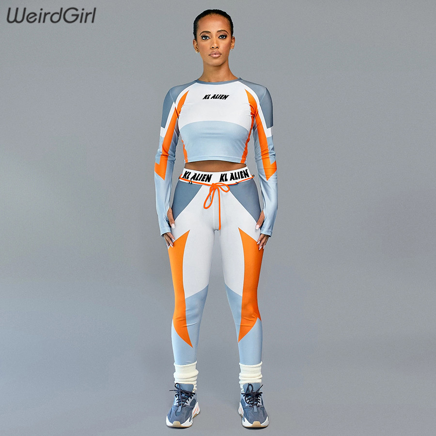 Weirdgirl Women Casual Fitness Sets Letter Print Two Pieces Tracksuits Stretchy Crop Tshirt High Waist Legging Sportwear New