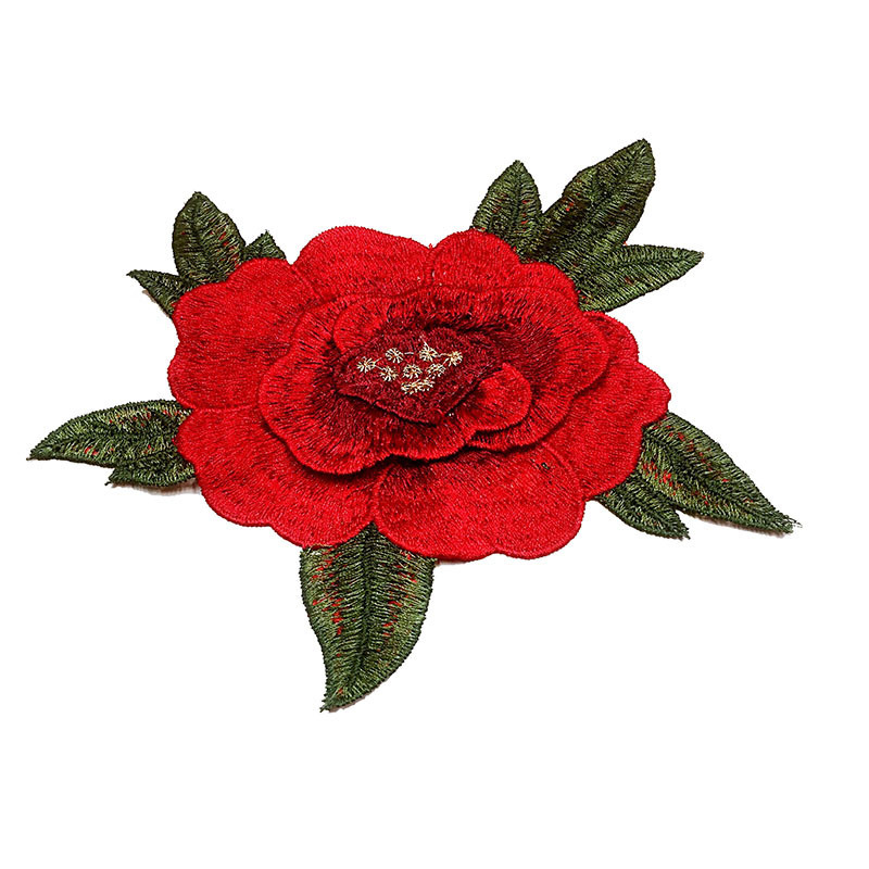Red Flower Iron On Patch Stickers On Patch Rose Embroidered Sewing Fabric Applique Supplies
