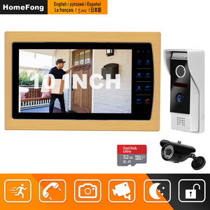 Image 1 - HomeFong חזותי אינטרקום 10 אינץ וידאו פעמון מערכת עם מקורה LCD צג חיצוני וידאו מצלמה פעמון Wired בית אינטרקום