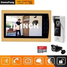 HomeFong البصرية إنترفون 10 بوصة جرس باب يتضمن شاشة عرض فيديو نظام مع داخلي شاشات كريستال بلورية في الهواء الطلق كاميرا فيديو الجرس السلكية المنزل إنترفون