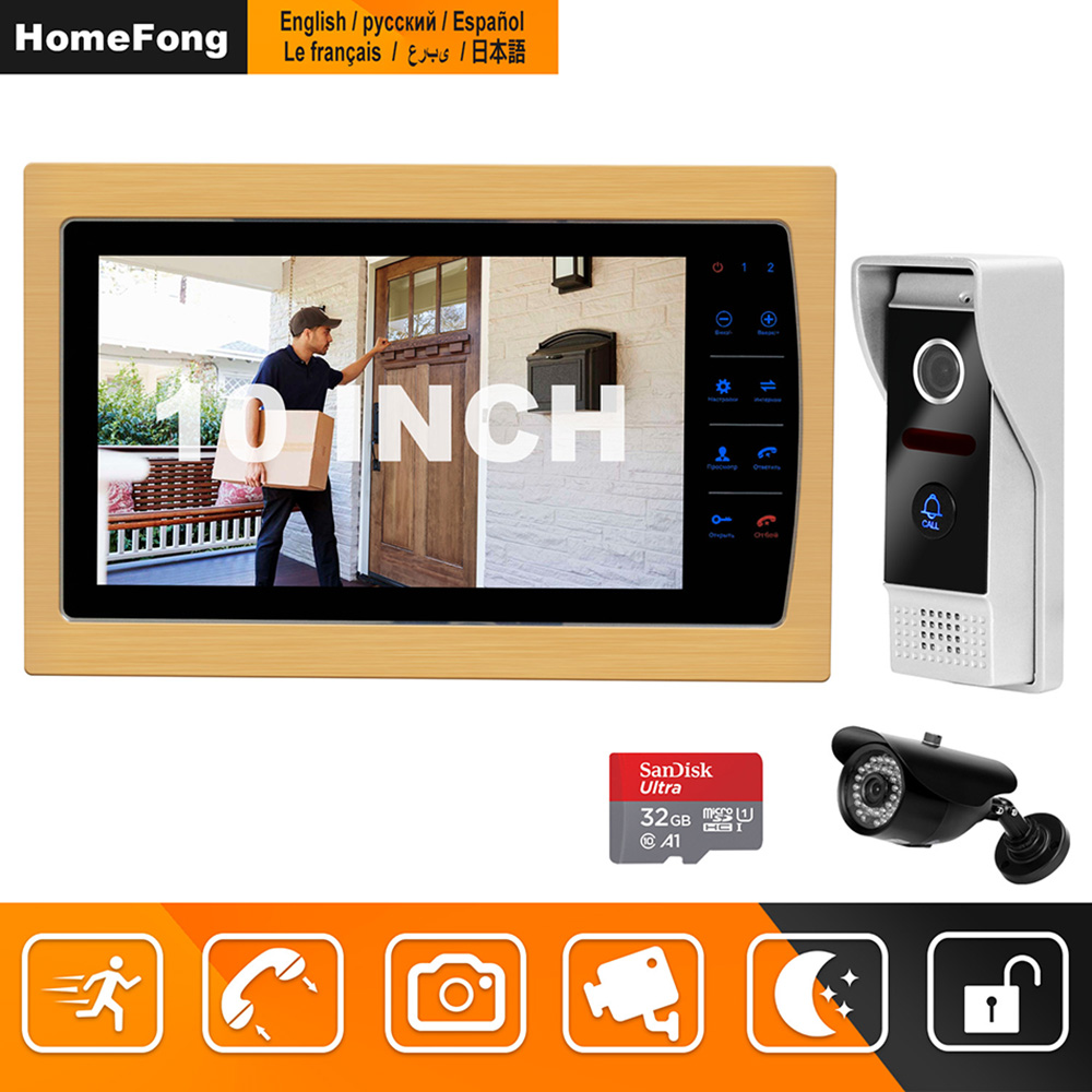 HomeFong Visual Intercom 10 Inch Video Doorbell System With Indoor LCD Monitor Outdoor Video Camera Doorbell Wired Home Intercom