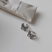 MENGJIQIAO New Fashion Vintage Metal Hollow Butterfly klipsy do uszu dla kobiet dziewczyn śliczne bez przekłuwania uszu fałszywe chrząstki ucha biżuteria