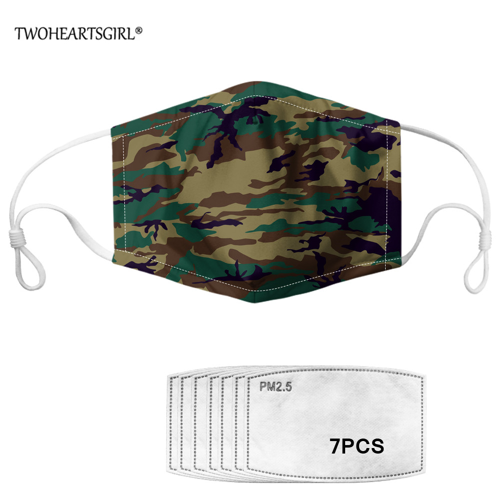 TWOHEARTSGIRL PM2.5 Men Mouth Mask Green Camo Printed Face Mask With 7pcs Filters Men Dustproof/Windproof Masks