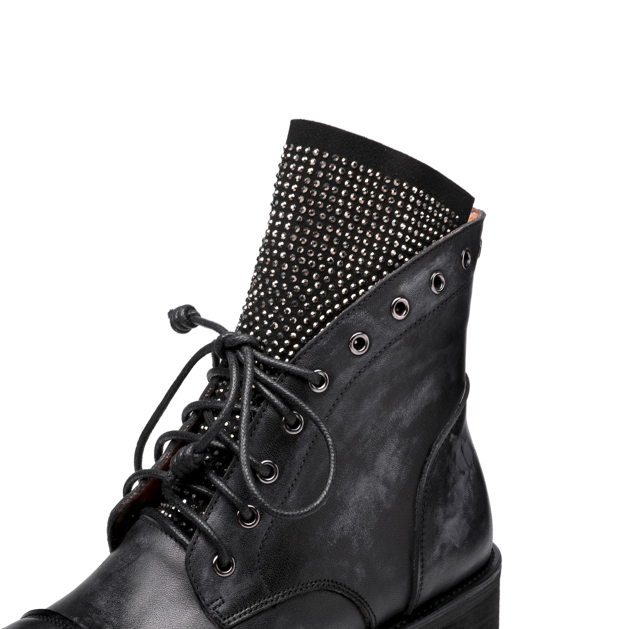 Image 5 - Krazing pot genuine leather round toe lace up thick med heel 