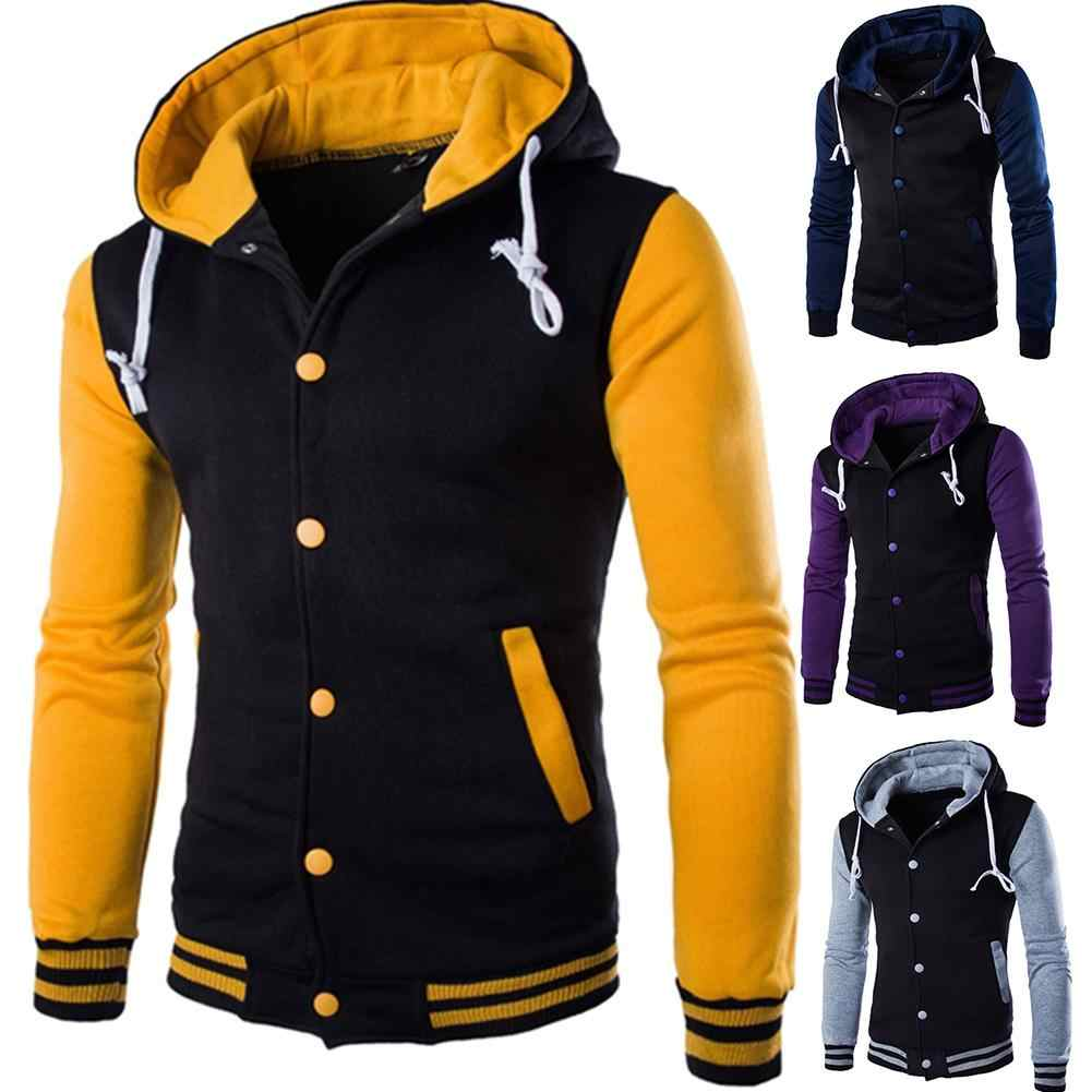 Hoodie erkekler moda kontrast beyzbol giyim rahat hoodies düğme hırka cep uzun kollu ceket ropa hombre talla grande