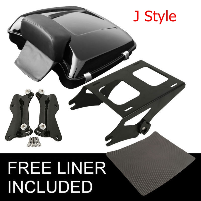 "Image 3 - Motorcycle 5.5"" Razor Pack Trunk Backrest Rack For Harley Tour Pak Touring Electra Glide Road King Street Glide 2014 2019"