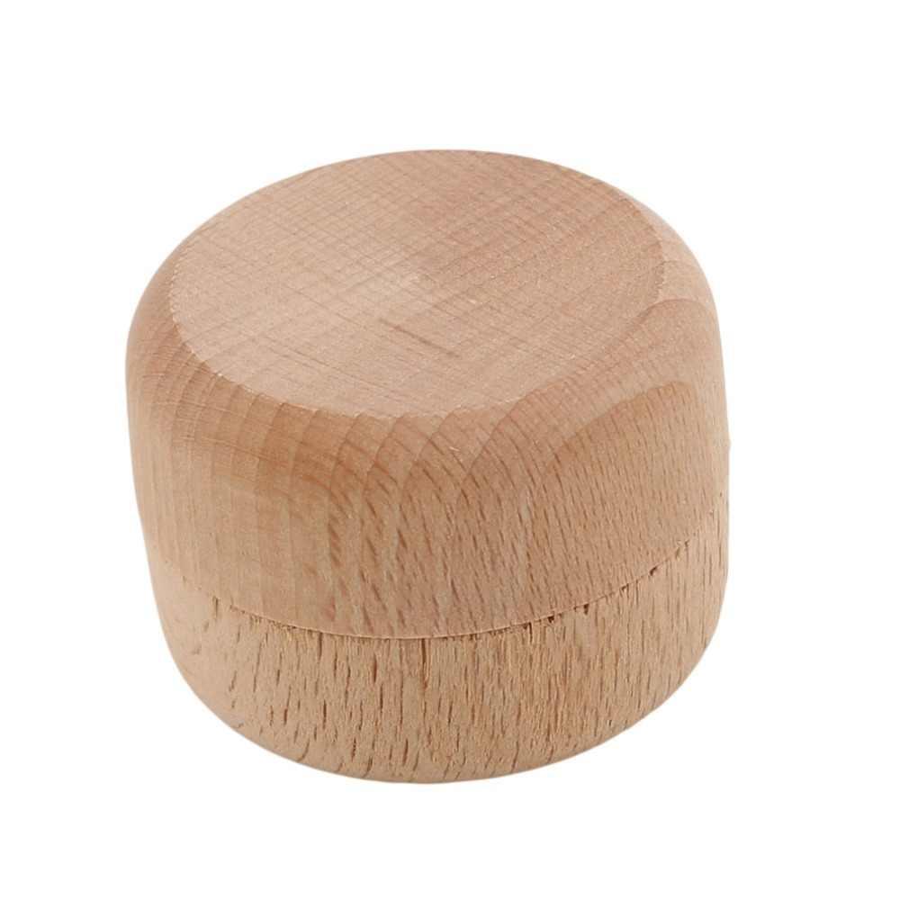 Koreańska wersja wysokiej jakości przenośne Vintage okrągłe drewniane pudełko do przechowywania biżuterii pierścień kolczyki pojemnik futerał do przechowywania Opbergtas