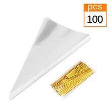 100 個の三角形キャンディーバッグ自己粘着クッキービニール袋のギフト袋キャンディのギフト結婚式ボックス食品包装透明バッグ