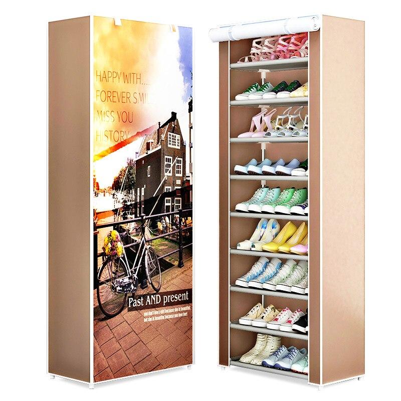 9-Tier Shoes Rack Oragnizer Oxford Cloth Dustproof Shoes Holders Organizer Closet Furniture Modern Minimalist Shoe Cabinet