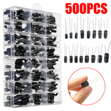 500pcs 24 Value Electrolytic Capacitor 0.1UF-1000UF 16V-50V Assortment Kit for DIY Making Circuit Electronic Tools with Box