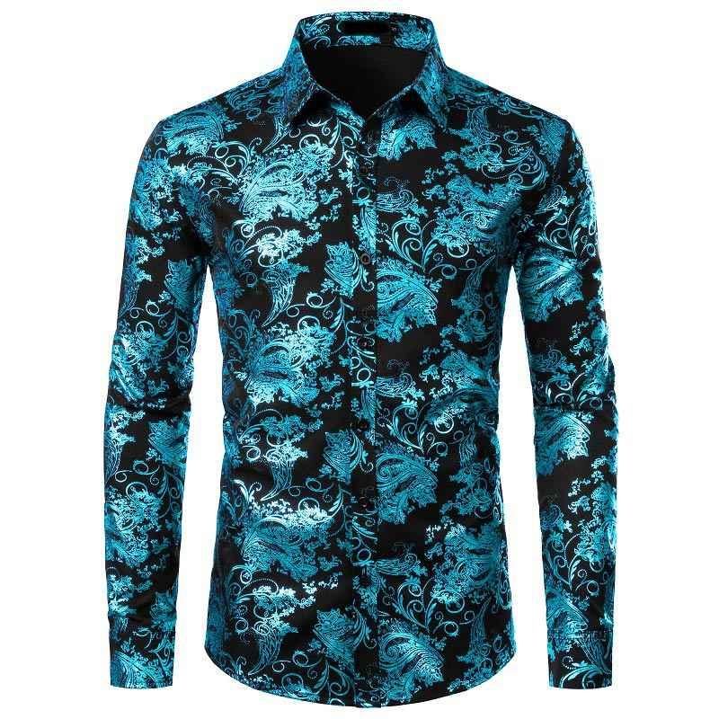 Weißes Hemd Männer Shiny Bronzing Floral Herren Shirts Casual Slim Fit Herren Party Shirts Hochzeit Männer Kleid Shirt Langarm chemise