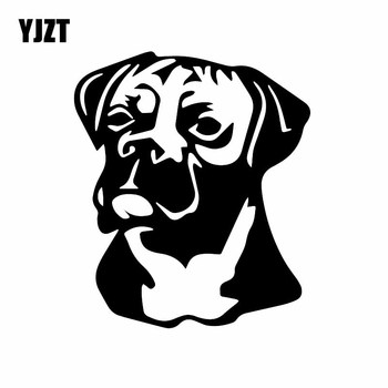 YJZT 13.2X15.5CM Creative Cartoon Car Sticker Animal Boxer Dog Car Window Vinyl Decal Black/Silver C24-1358 image
