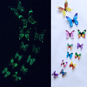 #50 12pcs Luminous Butterfly Design Decal Art Wall Stickers Room Magnetic Home Decor Glow In The Dark Butterfly Mariposas Decor