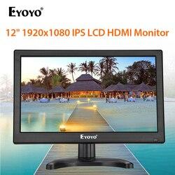 Eyoyo EM12K 12 1920x1080 FHD HDMI IPS CCTV Monitor pantalla LCD con VGA BNC USB altavoz ordenador Pantalla de vigilancia de seguridad