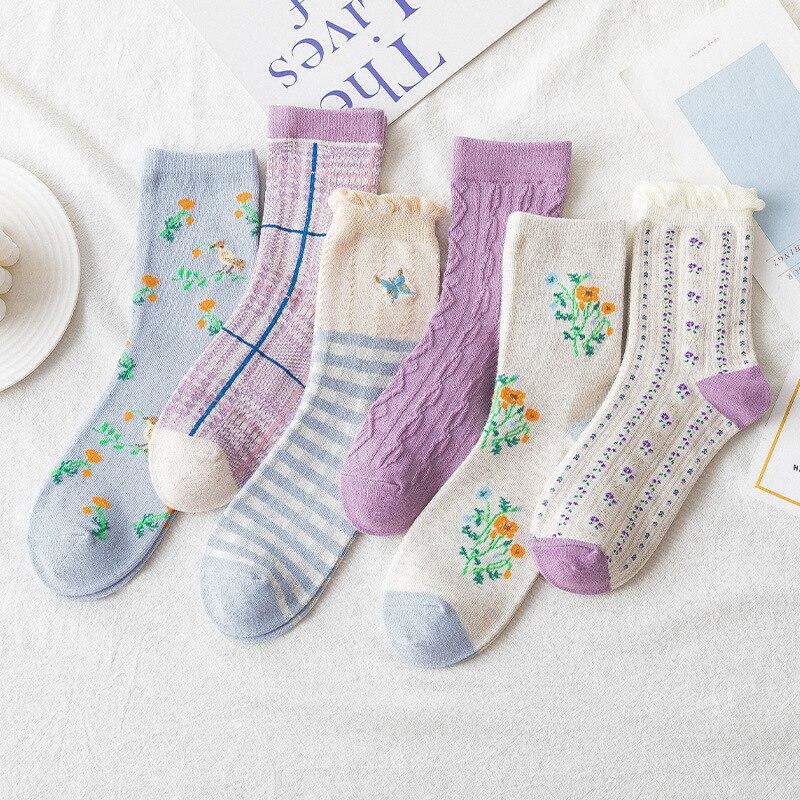 Spring Fall Lacy Socks Cute Kawaii Japan Style Flower Cotton Sock Funny Cartoon Butterfly Bird Blue Purple Girls Retro Sox