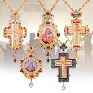 Orthodox Pectoral Cross Collares Crown Religious Icon byzantine Catholic Crucifix Necklace Confirmation Pendant Long Necklace(China)