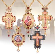 Prawosławny krzyż piersiowy Collares korona ikona religijna bizantyjski katolicki krucyfiks naszyjnik potwierdzenie wisiorek długi naszyjnik