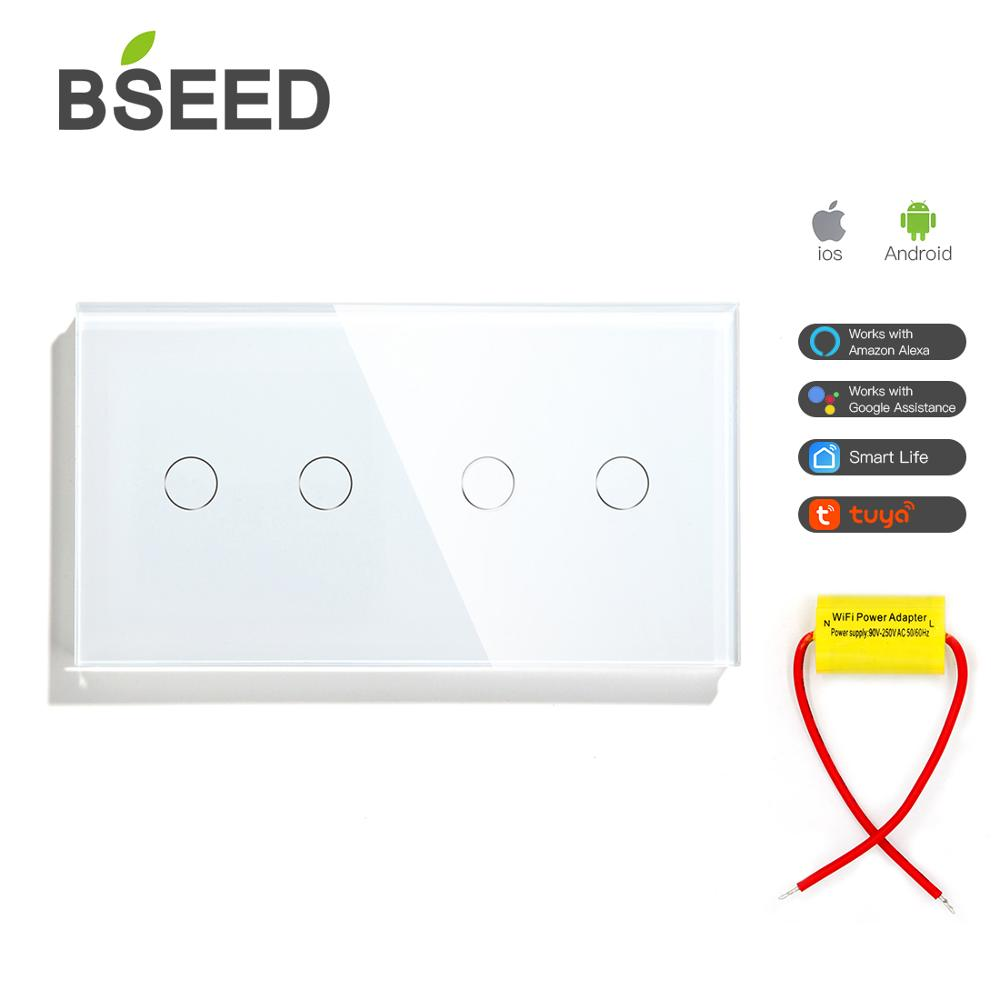 BSEED WIFI Wall Switches Google Alexa Touch Switches 4Gang without Neutral Wire Single Wire Wifi Light Switches Blue Backlight