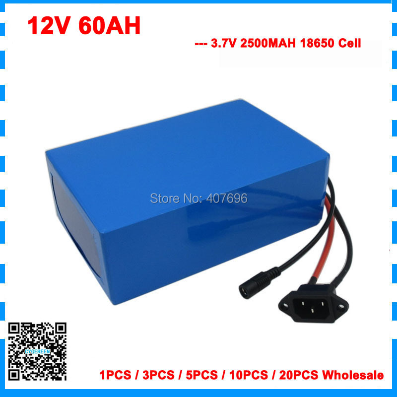 300W 12V 60AH battery 12 V 60000MAH Lithium ion battery 30A BMS for 12V 3S Ebike Battery 12.6V 5A charger wholesale image