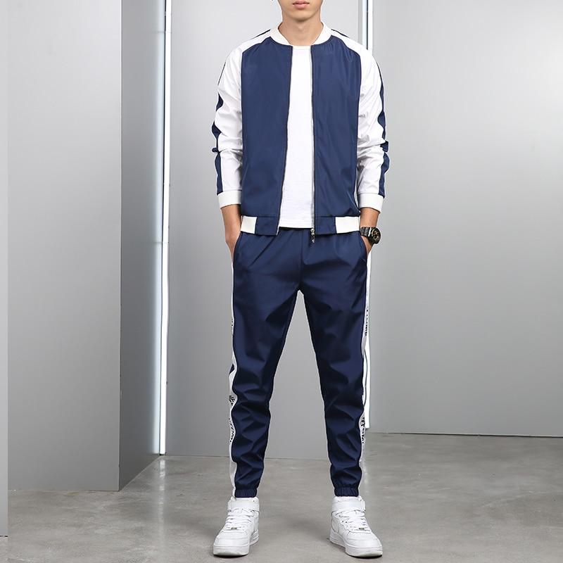 Autumn New Men Hoodies Pants 2Pcs/Sets Sweatshirt Sweatpants Male Gyms Fitness Tops Trousers Joggers Sportswear Tracksuits
