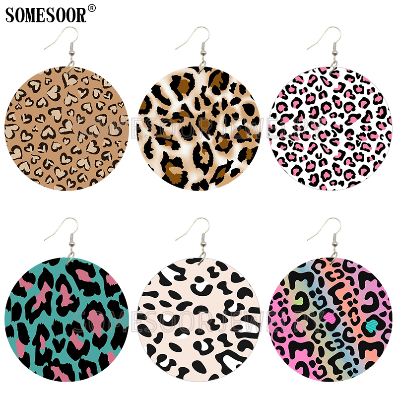 SOMESOOR Jewelry Leopard Skin Hand Drawn Animal Design Both Sides Printing Wooden Drop Loops Cute Earrings For Women Gifts